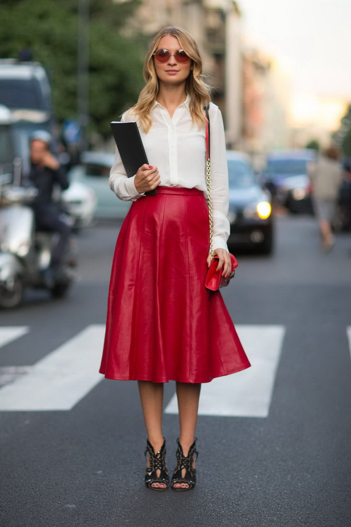 Street-Style-Ideas-with-White-Blouse-and-Red-Midi-skirt